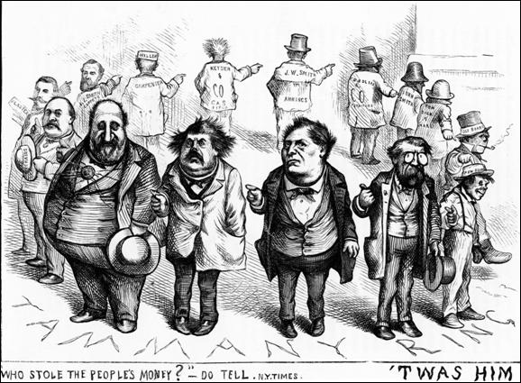 Thomas Nast's famous cartoon depicting Boss Tweed and the Tammany Ring